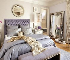 modern glossy purple upholstered headboard bedroom ideas