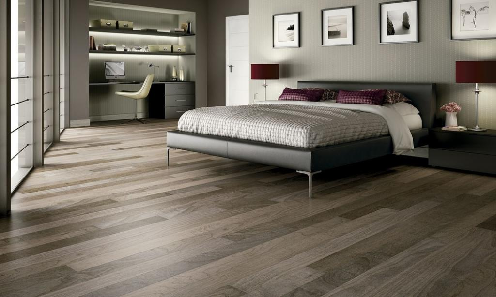 dark grey laminate flooring for modern masculine men bedroom home