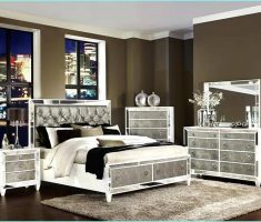 modern mirrored headboard bedroom set furniture