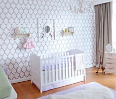 modern purple baby girl rooms with nursery furniture and white and purple colors room theme
