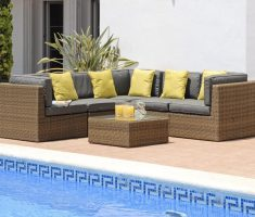 modern-rustic-rattan-corner-sofa-with-grey-cushion-and-yellow-pillows-beside-pool