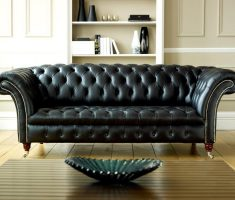modern tufted black leather sofa