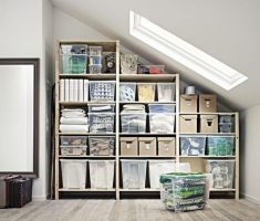 neat attic storage ideas shelve storage