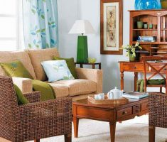 neat and fancy small space decoration for living room with rattan chairs and wooden table with drawer