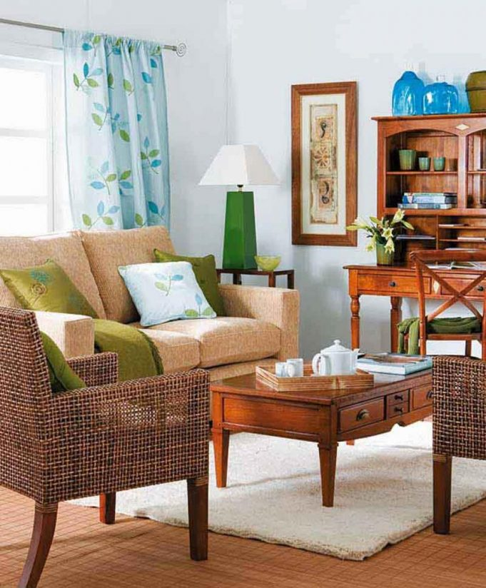 neat-and-fancy-small-space-decoration-for-living-room-with-rattan-chairs-and-wooden-table-with-drawer