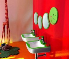 pacman mirror for kids bathroom with red color kids bathroom