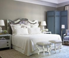 queen mirrored headboard bedroom set on edge