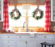 red and white kitchen window treatment ideas colors