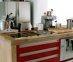 red cabinet butcher small appliances for small apartments