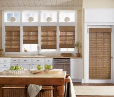 rolled rattan curtain for creative kitchen window treatment ideas