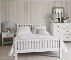 rustic gloss white bedroom furniture with white hardwood wall