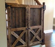 rustic wooden baby gates stairs ideas