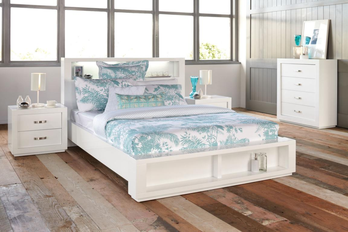 Rustic modern gloss white bedroom furniture with shelve for Best beds for teenager