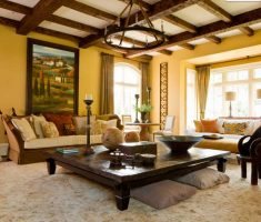 rustic modern tuscan style home interior living room