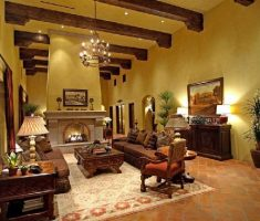 rustic tuscan style home interior living room