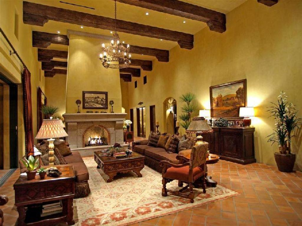 How to furnish a mediterranean style home design for Home interior living room