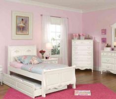 shabby white bedroom furniture for girls with pink wall decor