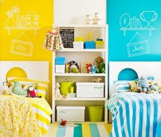shared kids bedroom blue and yellow theme colors