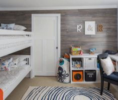 shared kids bedroom two bunk beds with home office