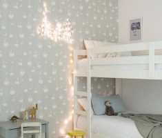 shared kids bedroom two bunk beds with wall decor grey white