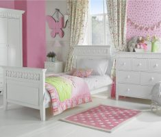 simple white bedroom furniture for girls with pink decor wall