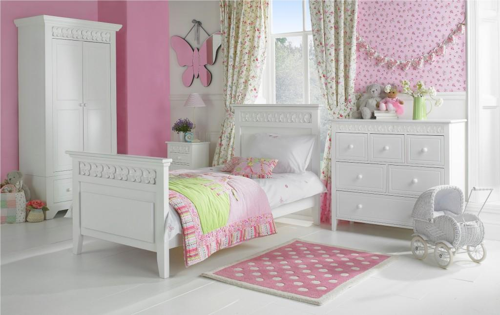 simple-white-bedroom-furniture-for-girls-with-pink-decor-wall