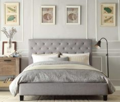 simple and minimalist grey tufted headboard bedroom set