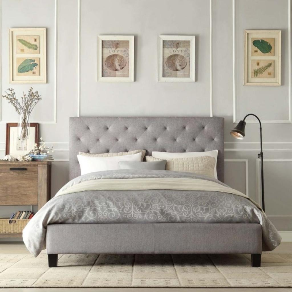 Simple and minimalist grey tufted headboard bedroom set for Minimalist bedroom furniture