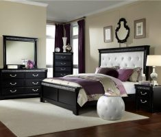 simple and modern cushion headboard bedroom sets with black wooden edge