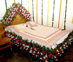 simple bedroom wedding room decorations with flower carving bed