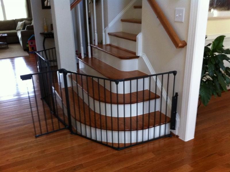 simple-metal-black-baby-gates-for-stairs-with-no-walls
