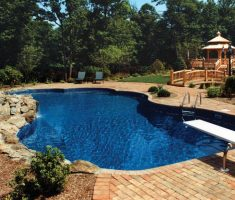 simple modern and natural inground swimming pools with slides