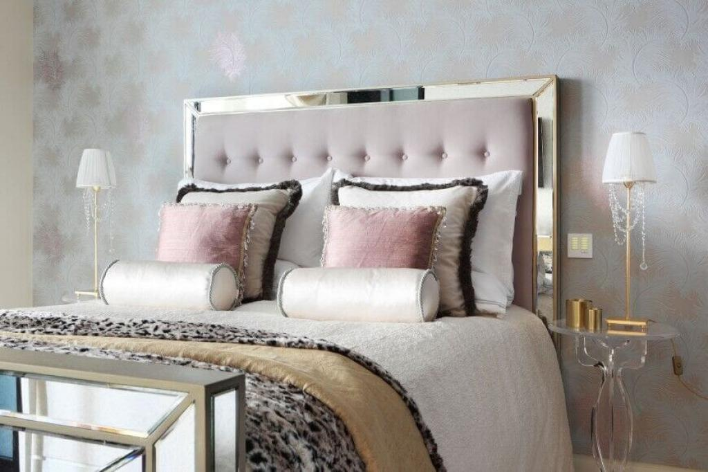 Mirrored Headboards Transitional Bedroom The