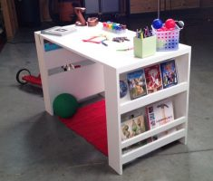 simple white children art tables and desks with rack shelve book on side