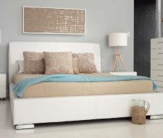 simple white bedroom with gloss white bedroom furniture