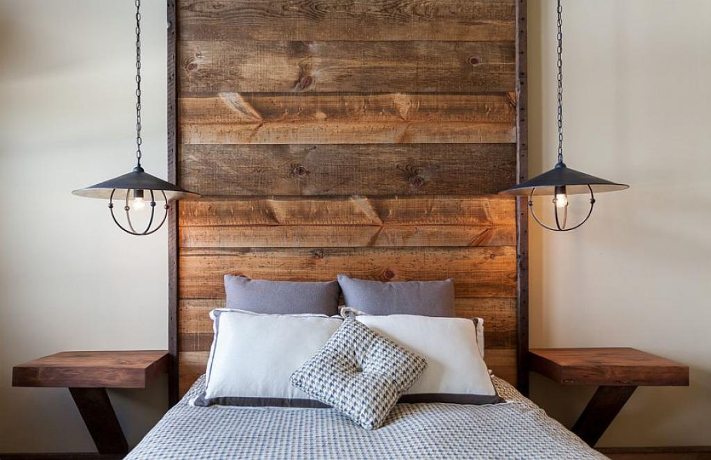 Simple wooden planks headboard ideas bedroom home inspiring for Simple headboard design
