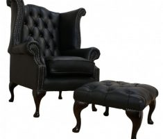 single gothic black leather sofa with ottoman