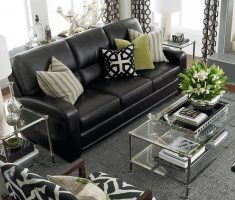 small black leather sofa for small living room