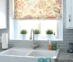 small and beauty floral kitchen window treatment ideas