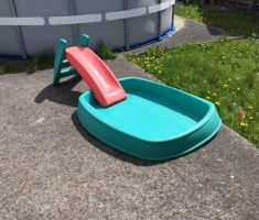 small hard plastic garden pool with slide