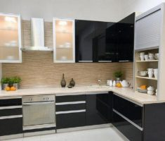 small l shaped cabinet kitchen design with glass