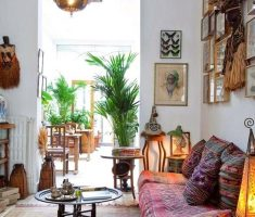 small living room with bohemian interior design ideas