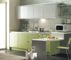 small modern cabinet kitchen design with green lime and brown light theme colors