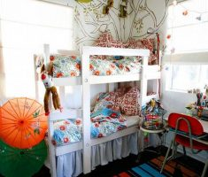 small shared kids bedroom two bunk beds