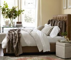 small tufted brown headboard bedroom ideas