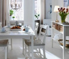 small white dining room for small space decoration
