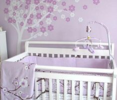 soft and cute purple baby girl rooms with purple sakura flowrs wall decor