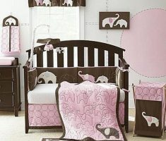 stylish and cute baby girl rooms pink and brown with elephant animal decor