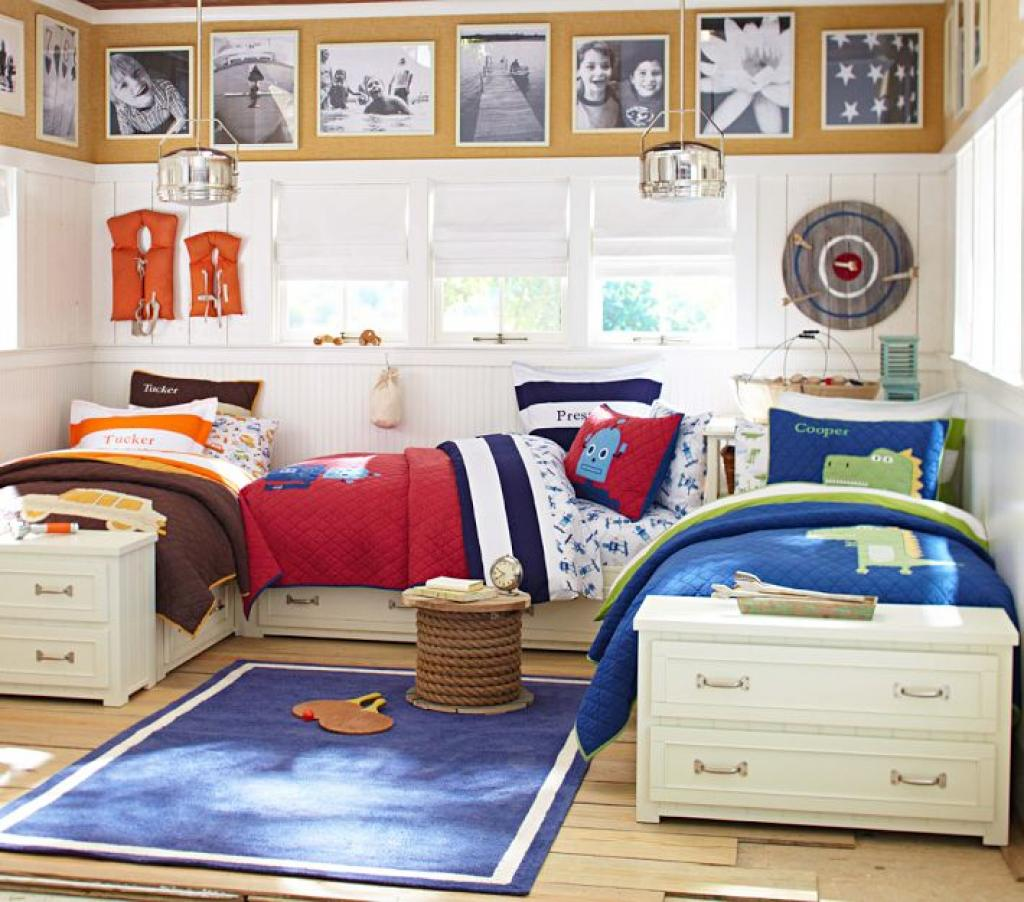With Full Beds Shared Boys Room: Three-shared-kids-bedroom-minimalist