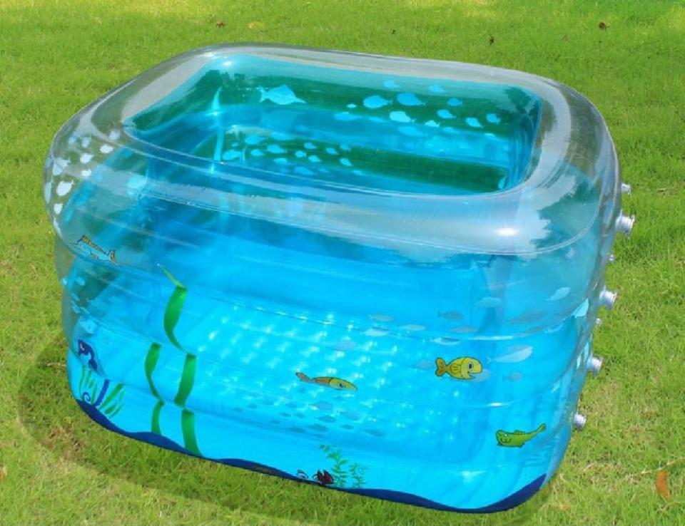 Tiny plastic pool inflantable for baby home inspiring for Baby garden pool